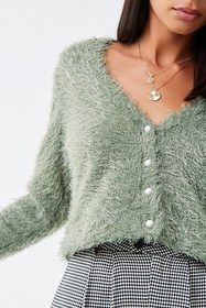 Forever21 Fuzzy Faux Pearl Button Cardigan