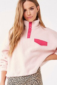 Forever21 Contrast-Trim Faux Shearling Pullover