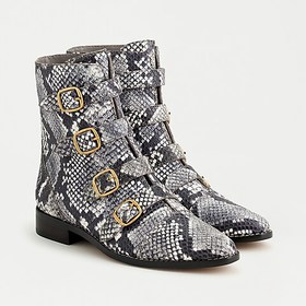 J. Crew Multi-buckle boots in snake-embossed leath