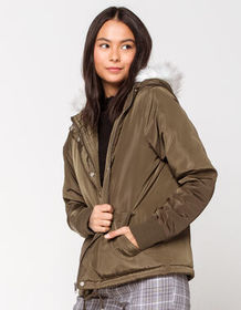 SKY AND SPARROW Faux Fur Hood Womens Puffer Jacket