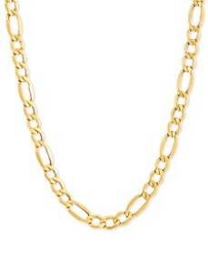 """Figaro Link 24"""" Chain Necklace in 10k Gold"""