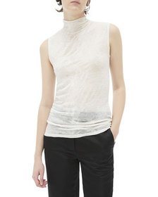 Helmut Lang Elasticated Wool Sleeveless Turtleneck