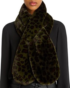 Echo - Faux-Fur Animal-Print Pull-Through Scarf