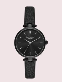 holland black glitter leather watch