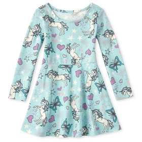 Baby And Toddler Girls Floral Matching Skater Dres