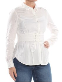 XOXO Womens White Corsetted Long Sleeve Top Junior