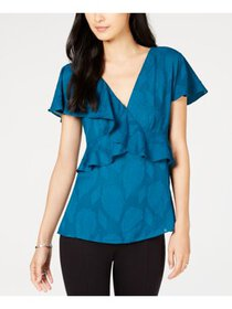 MICHAEL Michael Kors Womens Petites Ruffled V-Neck