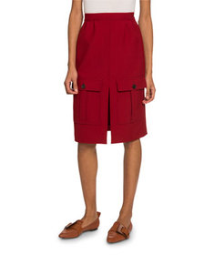 Chloe Wool Twill Midi Skirt