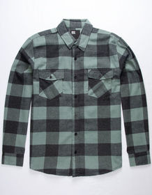 RSQ Francisco Green Mens Flannel Shirt_