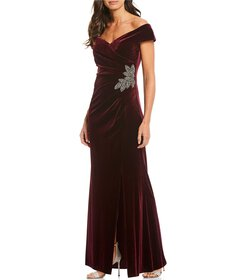Alex Evenings Stretch Velvet Off-the-Shoulder Gown