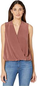 Splendid Summit Silk Mixed Media Surplice Tank