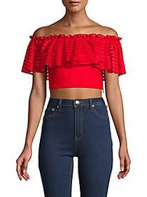 Alexander McQueen Off-The-Shoulder Ruffled Cropped