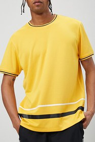 Forever21 Jersey Mesh Striped-Trim Tee