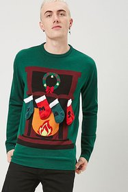 Forever21 Xmas Fireplace Graphic Sweater