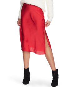 1. STATE Sateen Bias A-Line Midi Skirt
