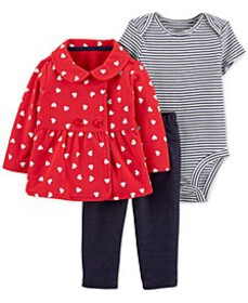 Baby Girls 3-Pc. Heart-Print Cardigan, Striped Bod