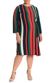 London Times Rach Striped Shift Dress (Plus Size)
