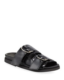 Ganni Leather Flat Two-Band Sandals