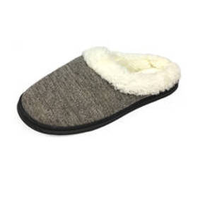 Womens Gold Toe® Knit Clog Slippers with Fur Colla