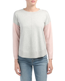 CABLE & GAUGE Color Block Boat Neck Pullover Sweat