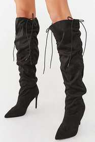 Forever21 Ruched Knee-High Stiletto Boots