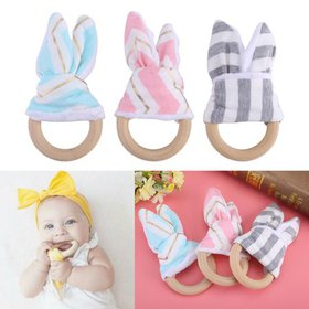 Tbest 2pcs Baby Infant Natural Wood Teething Ring