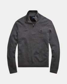 [object Object] Wool-Cashmere Half-Zip Sweater