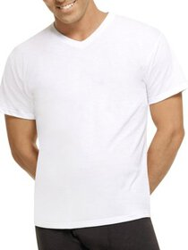 Mens ComfortBlend White V-Neck T-Shirts 2XL, 4 Pac