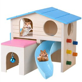 Petacc Hamster House Wooden Pet Cabin Small Animal