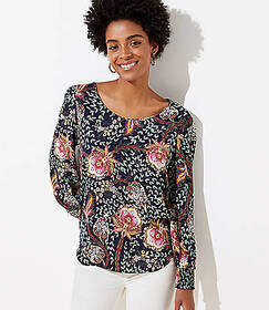 Floral Smocked Cuff Blouse