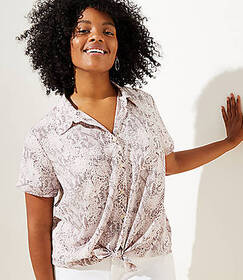 LOFT Plus Snake Print Short Sleeve Shirt