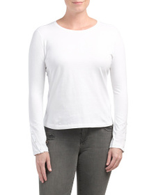 J BRAND Cotton Crete Long Sleeve Crew Neck Tee