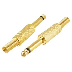 "2x Gold Tone Plated 6.35mm 1/4"" Mono Plug Male Coa"
