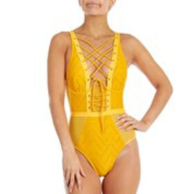 XOXO Juniors Lace Up Mesh Inset One Piece