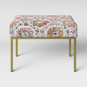 Ludlow Square Ottoman Brass with Persian Fabric -