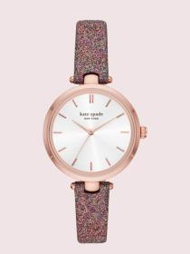 holland rainbow glitter leather watch
