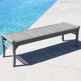 Wood Backless Outdoor Bench in Natural Gray-Pember