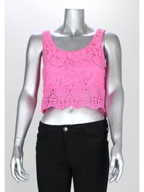 Self Esteem Pink Juniors Sleeveless Lace Crop Top