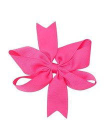 Girls Dark Pink Solid Color Grosgrain Knotted Bow