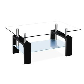 Zimtown Black Coffee Table Rectangular Living Room