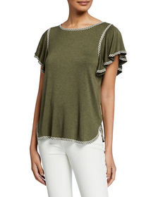 Max Studio Contrast Stitched Flutter-Sleeve Top