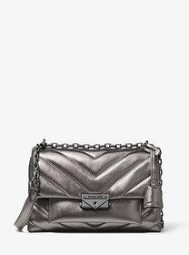 [object Object] Cece Medium Quilted Metallic Leath
