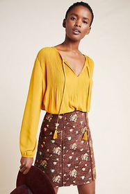 Anthropologie Janis Pleated Peasant Blouse