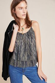 Anthropologie Mara Pleated Shimmer Cami