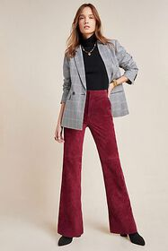 Anthropologie Carson Suede Bootcut Trousers