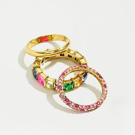 J. Crew Pavé and crystal stacking ring set