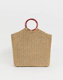 Whistles Eastway straw bag with resin handle