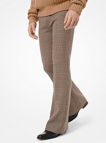 [object Object] Dogtooth Wool Flare Trousers