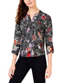 NY Collection Womens Petites Floral Plaid Pullover
