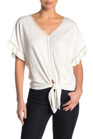 Max Studio V-Neck Embroidered Tie Front Top